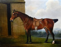 the earl of powis's racehorse standing by a stable in an extensive wooded landscape by thomas weaver