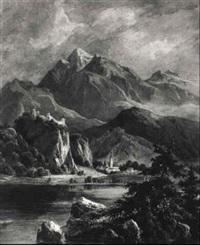 landschaft mit einem bergsee und einer ruine by josef hoeger