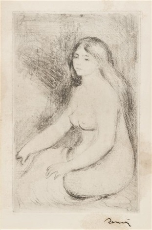 baigneuse assise by pierre auguste renoir