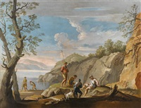 figuren in einer landschaft by jacob de heusch