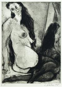 weiblicher akt mit schwarzen strümpfen by siegfried klotz