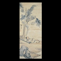 scholar and his qin beneath a palm by wang su