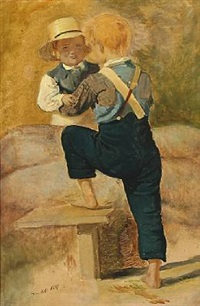 two boys by a stone wall by philip august fischer