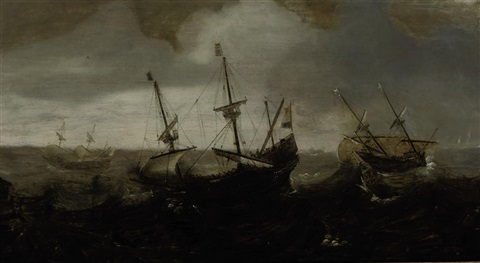 a whaling expedition in a rough sea by andries van eertvelt