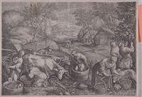 belebte dorfszene (after a. van everdingen) by cornelis (jacob c.) ploos van amstel