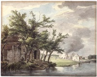lime-kilns along the leidse vaart near hillegom by hermanus van brussel