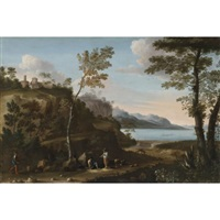 a wooded landscape with peasants resting on a track, a lake beyond (w/collaborator) by jan miel