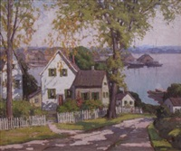 new england town with a harbor in background by camillo adriani