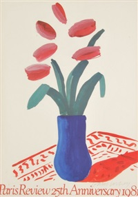exhibition poster paris review 25th anniversary by david hockney