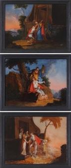 scene dalla parabola del figliol prodigo (set of 3) by flemish school (18)