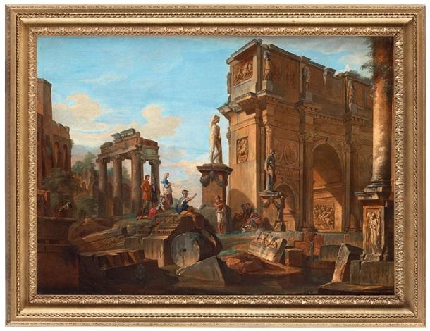 capriccio med figurer vid romerska ruiner och konstantinbågen by giovanni paolo panini