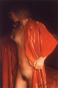 jeune femme au peignoir rouge by david hamilton