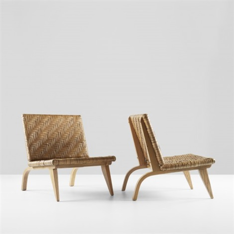 lounge chairs pair by edward durell stone