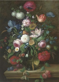 still life of flowers on a stone ledge by thomas webster