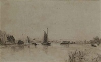 surlingham ferry and hay barges on the river at thorpe, norfolk (2 works) by john sell cotman