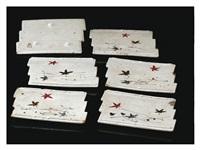 raft-shaped flower-drift dishes six-pieces set by kitaoji rosanjin