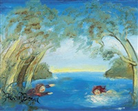 two girls swimming in a pond by david boyd