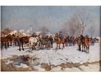 pferdemarkt im dachauer moos im schnee by wilhelm velten