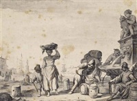 view of a mediterranean port with figures filling barrels from a fountain by johannes lingelbach