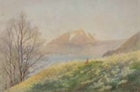 european coastal view with figure on a hilltop by minnie townley