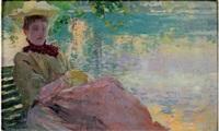 femme au bord de la rivière by charles de meixmoron de dombasle