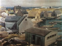 fishing village and harbor by charles goldhammer
