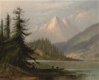 figures by a lake in a mountainous landscape by henry arthur elkins