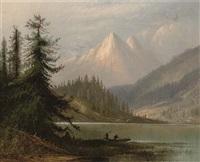 figures by a lake in a mountainous landscape by henry arthur elkins