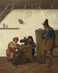 peasants smoking and making music in an inn by johannes natus