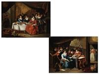 muzierende gesellschaft (+ gesellschaft am speisetisch; pair) by pieter cornelius verbeeck