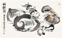 牧羊图 镜片 设色纸本 by cheng shifa