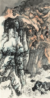 普陀潮音洞 by zhang daqian