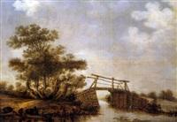 holländische landschaft mit brücke by jan coelenbier
