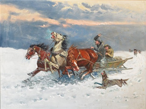 troika chased by wolves by mieczyslaw krzyzak
