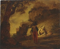 figures conversing by a wall by barent fabritius