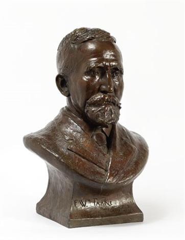 bust of f wm taake st louis a distinguished gentleman in formal attire beard and mustache signed below on the front by daisy anna taake