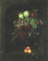 a swag of fruit in a stone niche with a bee by nicolaes van gelder