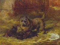 puppies playing by david george steell