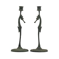 pair seahorse candlesticks by e.t. hurley