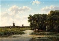 boerin met juk in een zomerse weide met koeien en molens by johannes gysbert vogel the younger