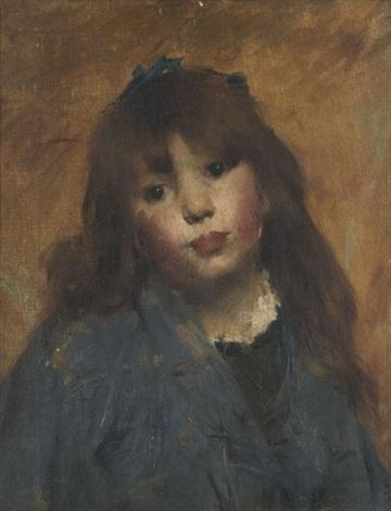 portrait de jeune fille à la robe bleue by georges gasté
