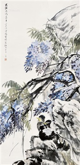 紫藤 立轴 设色纸本 by ren bonian