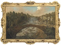 a view on the river skell at studley royal, yorkshire, with figures on a bridge, cascades beyond, and herons below by balthasar nebot