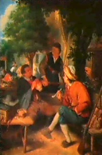 bauern in einem wirtshausgarten by jacobus johannes lauwers