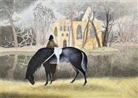 pur-sang noir, cavalier et chapelle dans les bois by léon spilliaert