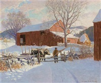 new england farm in snow by winfield scott clime