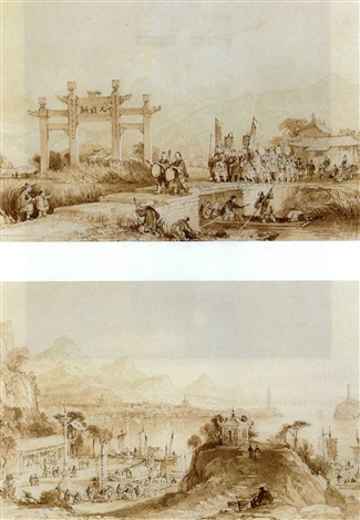 china lake see hoo and temple of the thudering winds from the vale of tombs 5 others 6 works by thomas allom