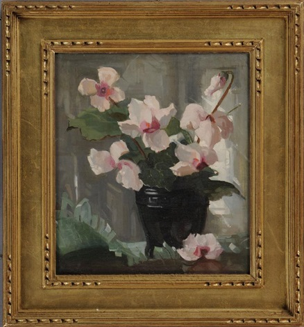cyclamen in a vase by marguerite stuber pearson
