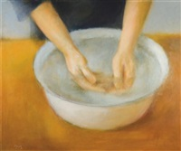 a woman washing her hands by jacob carmely