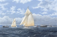 octavia and ailsa setting out for a day's sail by john j. holmes